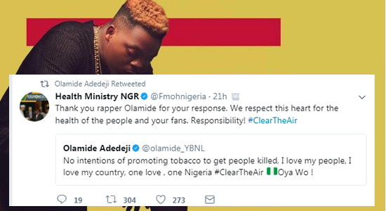 "Ministry Of Health Parleys Olamide After ""Wo"" Video Criticism"